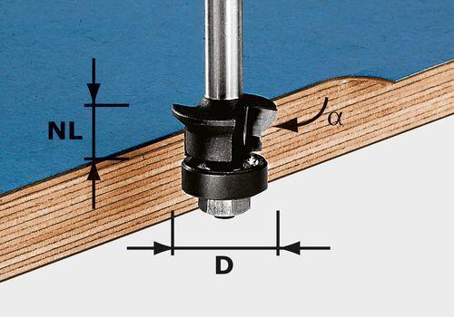 Fresa para enrasar chaflanes, vástago 8 mm HW S8 D24/0° +45°