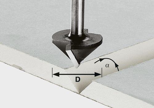 Fresa para placas de cartón enyesado HW, vástago 8 mm HW S8 D32/90°