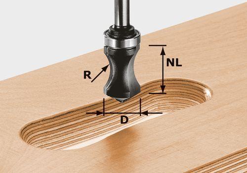 Fresa para cavidades de agarre HW vástago 8 mm HW S8 R16/NL32