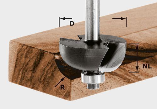 Fresa de media caña HW, vástago 8 mm HW S8 D38,1/R12,7 KL