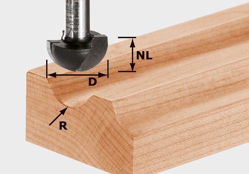 Fresa de media caña HW, vástago 12 mm HW S12 D30/20/R15