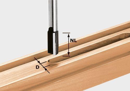 Fresa para ranurar de metal duro, filo de base, vástago 8 mm HW S8 D12/20