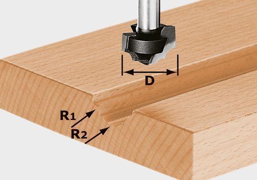 Fresa para perfiles HW, vástago 8 mm HW S8 D19/R5/R4