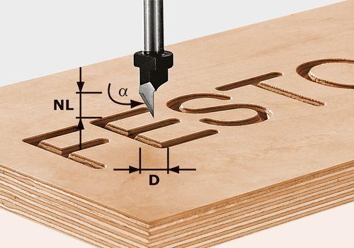Fresa para tipos HW, vástago 8 mm HW S8 D11/60°