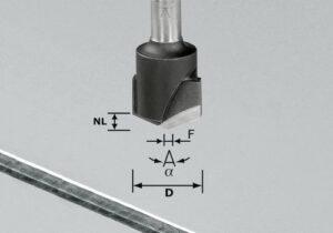 Fresa para ranuras en V HW S8 D18-135°/Alu
