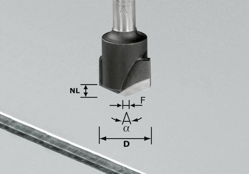 Fresa para ranuras en V, HW, vástago 8 mm HW S8 D18-135° (Alu)