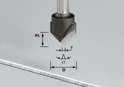 Fresa para ranuras en V, HW, vástago 8 mm HW S8 D18-90° (Alu)